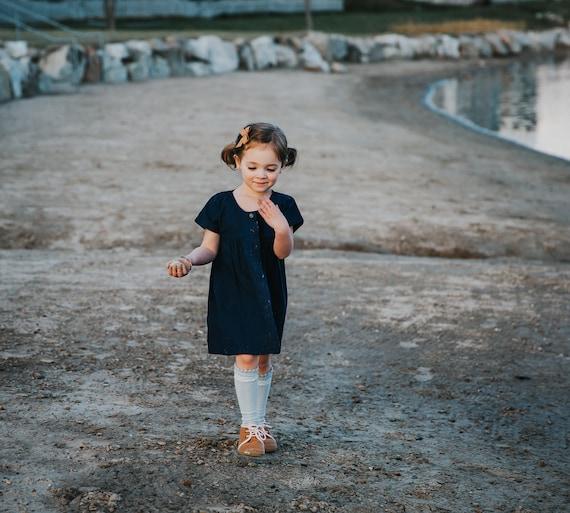Navy Blue Girls Blouse - Empire Waist Dress - Size 3-5 Dress - Children & Toddler Clothing - Simple Girls Top - Child Cotton Dress
