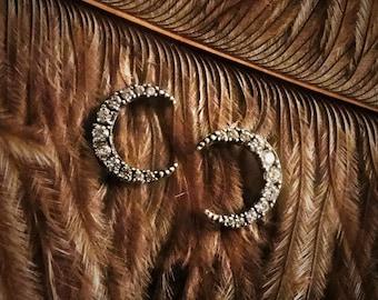 Moon Studs, Moon Earrings, Crescent Moon Earrings, Moon Jewelry, Crescent Moon Jewelry, Moon Gift, Moon Charm, White CZ, Crystal Moon, Moon