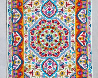 Fine wool Mandala rug,floral area rugs, 3x5 area rug, cool rugs,rugs online,rug for sale,affordable area rugs
