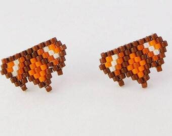 Stud Earrings Miyuki Delicas ethnic orange and Brown