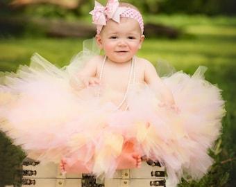 "Tutus ""Pink and Baby Yellow"" Rainbow Tutu, Rainbow Baby Tutu, Newborn Tutu, Baby Tutu, Tutus for children,1st birthday tutus, Birthday Tutu"