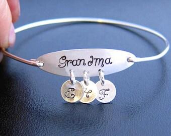 Grandma Mothers Day Gift Idea, Personalized Grandma Bracelet, Grandma Birthday Gift, Grandmother Jewelry, Grandmother Bracelet, Nana Present