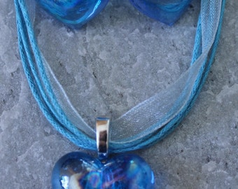 SALE Glass Iridescent Light Blue Heart Necklace and Earrings Set