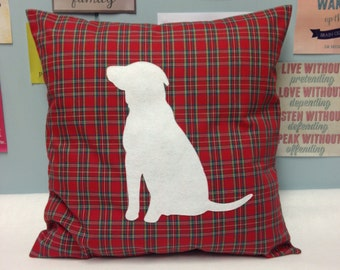 Old Faithful - Red Tartan Cushion Pillow Cover with White Felt Labrador Design Dog Animal Pet 14 16 18 20 22 inch size