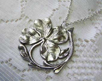 Silver Victorian CLOVER Necklace - Large Shamrock, Irish jewelry, four leaf clover, SHAMROCK Pendant - Statement Piece