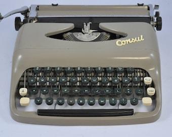 Consul Czechoslovakia Working Typewriter, Portable Typewriter, Vintage Typewriter, Blue Typewriter, Manual Typewriter, Retro Typewriter