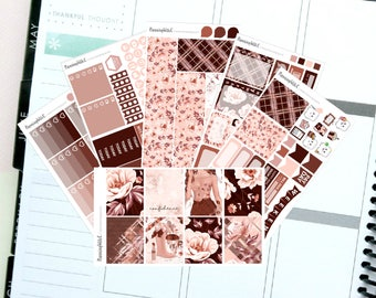 "Autumn/Burgundy/Floral ""Confidence""  Themed Planner Stickers for Erin Condren, Kikki K, Filofax, Happy Planner, Websters Pages"