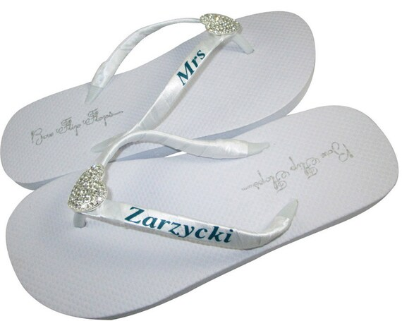 c7466cf5fca911 ... Lace Bride for Platform Flops Bling White Wedge Flip Personalized Ivory  Name Last Mrs Wedding Flip ...