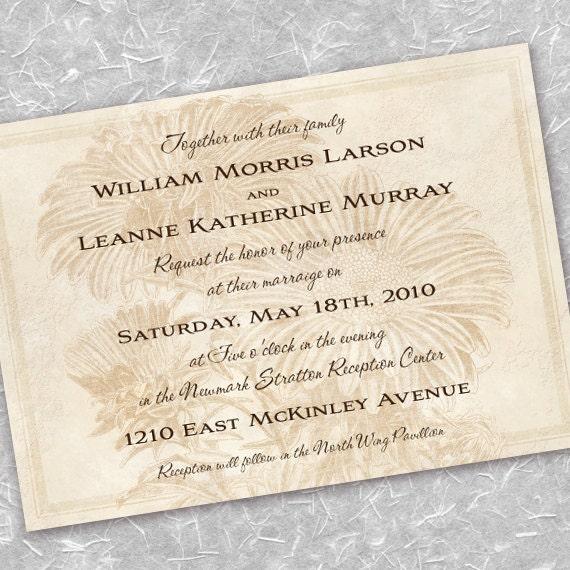 wedding invitations, ivory wedding, sunflower bridal shower invitations, cream wedding, cream bridal shower invitation, tan retirement party