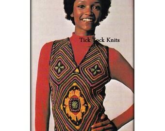 No.533 PDF Vintage Crochet Pattern For Women - Mosaic Crochet Vest - Granny Square Modular Top - 1970's Retro Boho Crochet Pattern