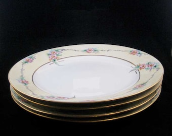 Noritake Nippon Dinner Plates (4)Pink Flowers Gold Circa 1911