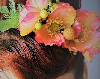 Wild Poppies - Headband - OOAK - Ready to ship xx