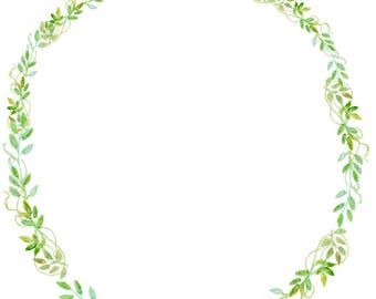 Greenery Clipart Watercolor Wreath Minimalist Green Leaves