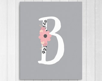 """Girls Floral Monogram, Nursery Letter """"B"""", Pink and Gray Nursery Decor, Instant Download, Pink and Grey Floral Digital Wall Art Print"""