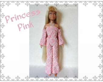 Vintage SL SKIPPER & SKOOTER Doll Clothes - Retro Pink Jumpsuit - Custom Fashion - by dolls4emma