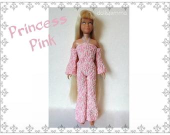 Vintage SL SKIPPER & SKOOTER Doll Clothes - Retro Pink Jumpsuit - Custom Fashion - by dolls4emma