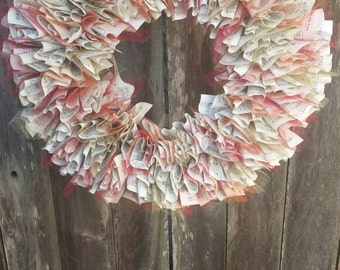 "Hymnal Wreath, fall decor, book wreath, 20"" paper wreath"
