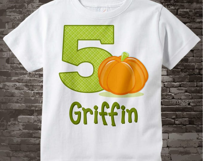 Personalized Fifth Birthday Pumpkin Tee Shirt, 5th Birthday Halloween Theme T-Shirt, Any Age 09082016a