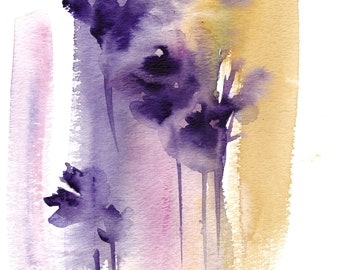 Abstract Botanical Original Watercolor Painting, Abstract Realism purple pink and ocher modern painting, abstract painting