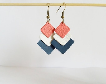 Earrings chic graphic leather triple candy pink, white and teal Argyle