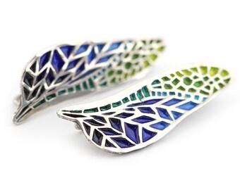Blue enamel earrings - Dragonfly wings earrings - Enameled earrings - Wing jewelry - Green wing earrings - Hot enamel earrings - Dragonfly