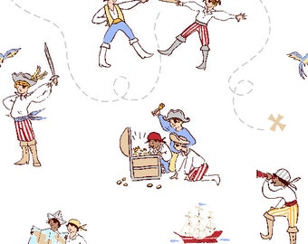 A Pirates Life in Sail Blue Fabric from Best of Sarah Jane for Michael Miller Fabrics (Children at Play reprint)