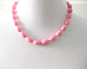 Pink Beaded Necklace with gold tone beads Accessory Bridal Wedding Jewellery