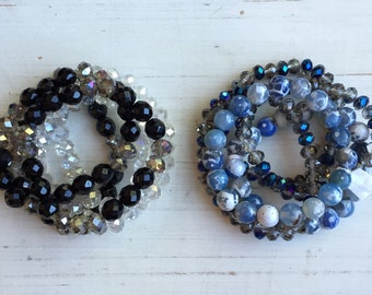 Gemstone Beaded Bracelet Stack with Crystal, Agate, and Onyx Stones
