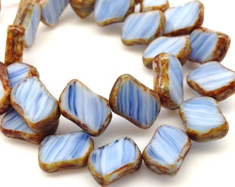 12 White Blue Picasso Czech Diagonal Rectangle Glass Beads 14mm