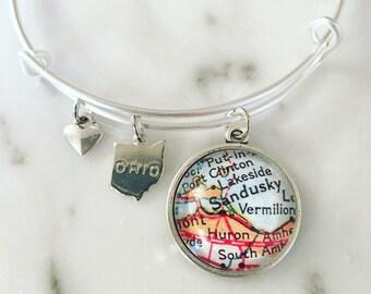 Sandusky Ohio Map Charm Bracelet - Cedar Point - Catawba Island - Put in Bay - Map Jewelry - Travel - Wanderlust
