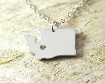 Washington Necklace   alloy 925 sterling silver  heart necklace Pendant State Necklace State Charm Map necklace Map Jewelry