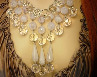 Dramatic Runway Icicle chandelier necklace with HUGE faceted beads