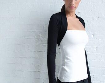 Black Bolero / Long Sleeve Shrug / Fitted Bolero / Black Shrug / Jersey Sweater / Black Jersey Cardigan / Marcellamoda - MC0946