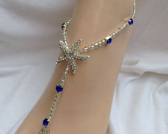 Starfish Barefoot Sandals Royal Blue Rhinestones Barefoot Sandal, Beach Weddings, Foot Jewelry, Bridal Barefoot Sandals, Wedding Jewelry