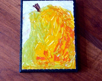 Little Big Pear - original acrylic painting on paper and canvas