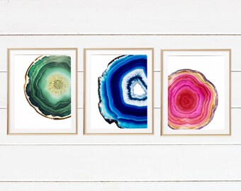 Pink Geode Art, Agate Crystal Print, Green Agate Crystal Print, Turquoise Blue Agate Slice Poster,Yoga Lover Gift, Dorm Room Decor set of 3