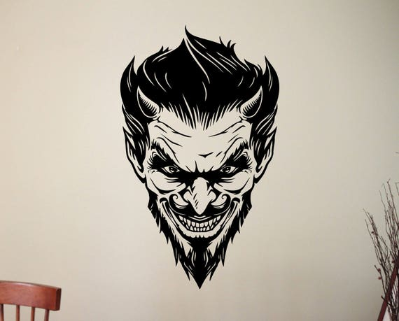 Devil Face Line Drawing : Scary demon face vinyl sticker satanic devil decal halloween