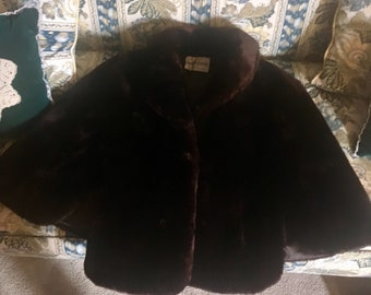 1960's Vintage Dark Brown Authentic Mink Fur Cape Small