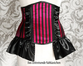 Corset, Underbust corset, waist cincher, with stripes and skirts