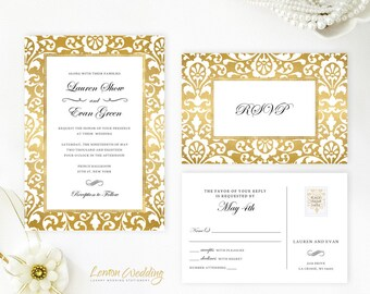 Gold wedding invitations printed on shimmer cardstock | Cheap wedding invites with RSVP postcard