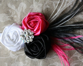 Party Headband Pink Black and White Rosettes on white Headband Pink Black and White Feathers