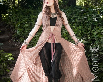 """RESTOCKED: The """"Desert Duster"""" Long Vest with Hood in Blush Mesh Texture by Opal Moon Designs (Sizes M-XL)"""