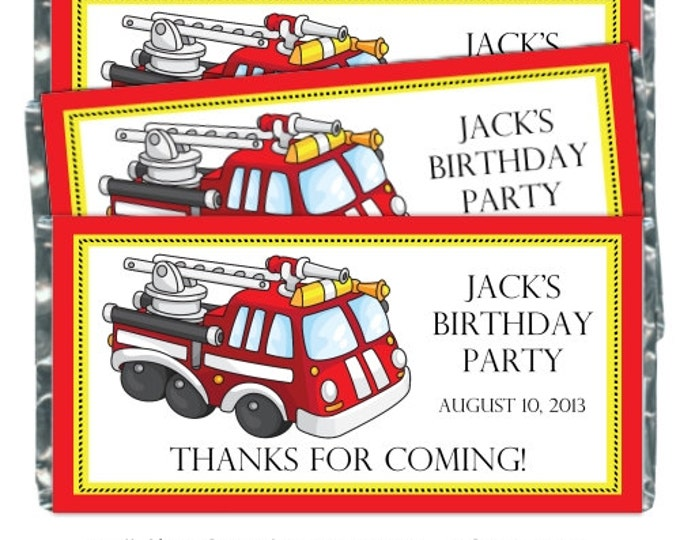 Printable Candy Wrappers, Fire Truck Custom Candy wrappers, Birthday Candy Wrappers - fit over chocolate bars - CUSTOM design for you