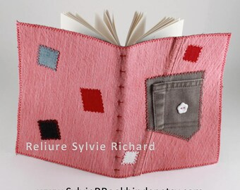 Pink Recycled Jeans notebook #6 – personal diary – travel journal – blank book  - sketchbook, drawing, calligraphy…soft cover - bookbinding