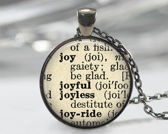 Joy Necklace • Joy Definition • Joy Jewelry • Dictionary Quote Jewelry • Gift For Her