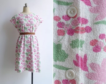 Vintage 80's 'Berry Floral' Terry Cloth Day Dress M L XL