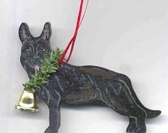 Hand-Painted GERMAN SHEPHERD BLACK Wood Christmas Ornament...Artist Original, Christmas Tree Ornament Decoration