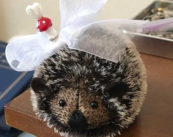 Hedgehog Pincushion Cute Handmade with Steiff Mohair