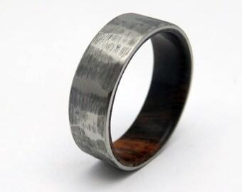 Titanium and Ironwood wedding band   Rustic titanium wood ring