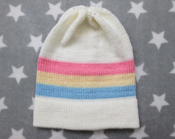 Knit Pride Hat - Pastel Pan Pride - White - Slouchy Beanie
